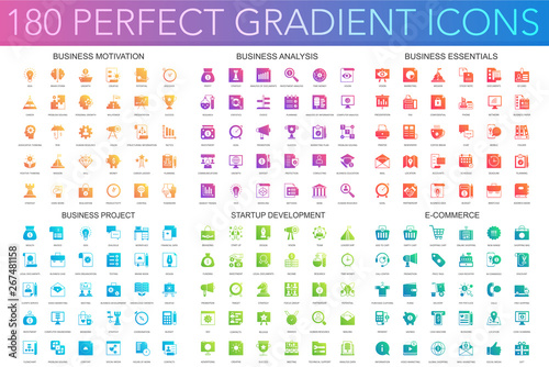 180 vector trendy perfect gradient icons set of business motivation, analysis, business essentials, business project, startup development, e commerce Canvas Print