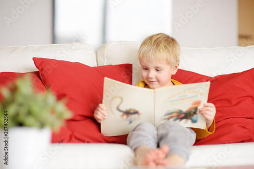 Little boy is sitting at home on the couch and reading a book Wallpaper Mural