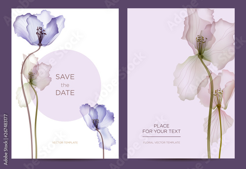 Photo Modern invitation card template in the botanical style