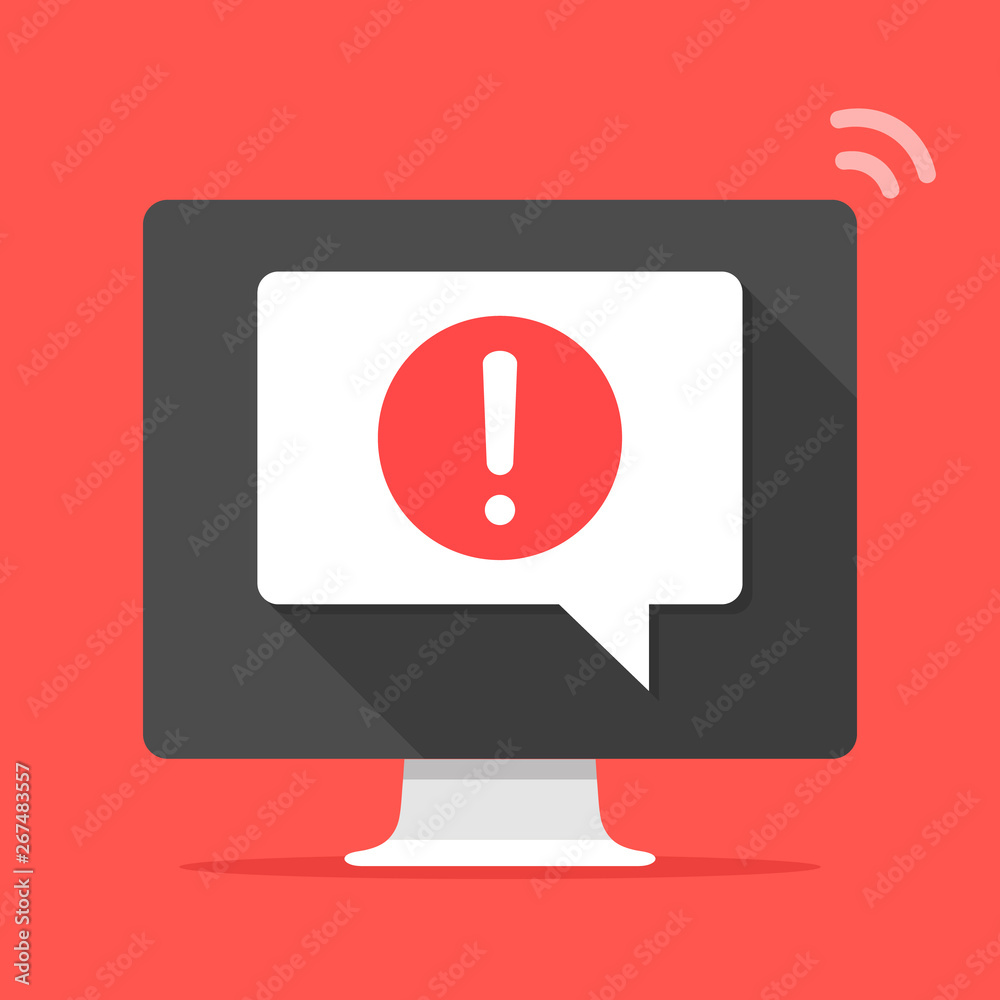Fototapeta Computer with speech bubble and exclamation point on screen. Error message, alert, notification, warning concepts. Modern flat design. Vector illustration