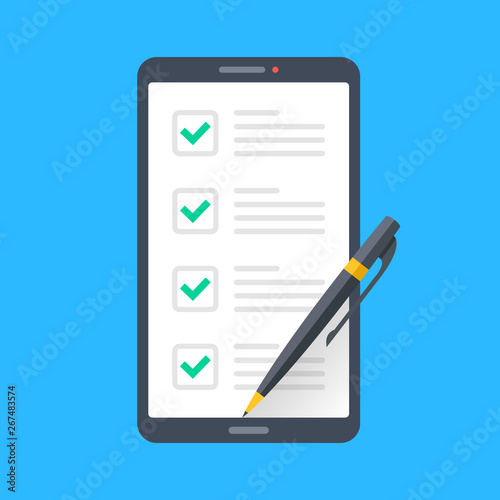 Smartphone with checklist and pen on screen  Online survey