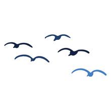 Cute Seagull Flock Silhouette Cartoon Vector Illustration Motif Set. Hand Drawn Isolated Ocean Life Elements Clipart For Birdwatching Blog, Avian Graphic, World Sea Bird Buttons.