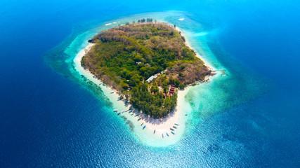 Beautiful aerial view of Gili Nanggu Island