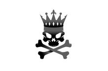Creative Black Skeleton Bones Crown King Skull Logo Design Vector Illustration