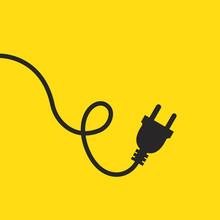 Wire Plug Icon. Vector Illustration. Wire Plug In Flat Design.