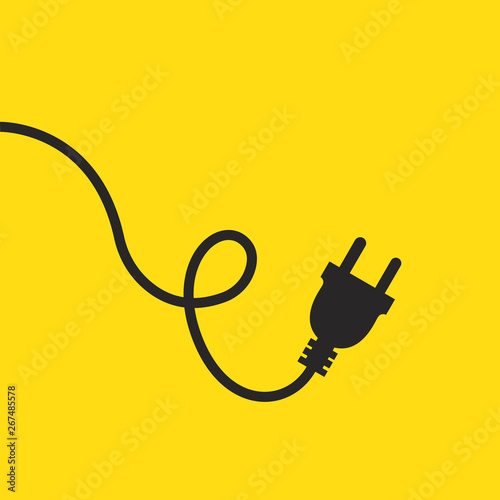 Fotografía Wire plug icon. Vector illustration. Wire plug in flat design.