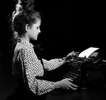 Pretty Little Girl Kid Typing ...