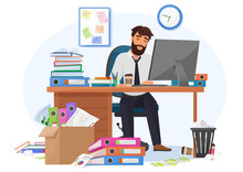Tired Sleepy Male Office Worker Stays Late On Workplace. Overload Paperwork, Meeting Deadlines, Report, Overwhelmed By Work Young Businessman Vector Illustration.