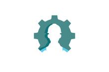 Creative Gear Worker Contractor Logo Design Illustration