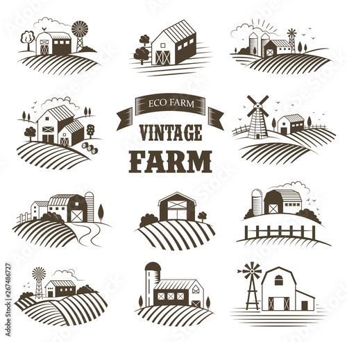 Fotomural Set of isolated vintage eco farms, landscapes, labels for natural farm products