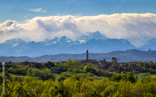 Landscape of the Monferrato hills with the Alps as a background Canvas Print