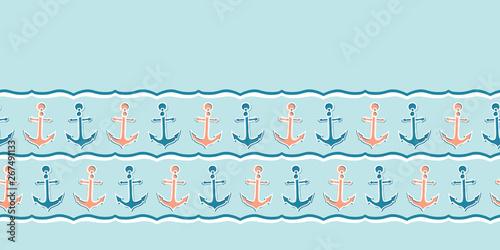 Photo Cute stripe marine anchor seamless vector border pattern