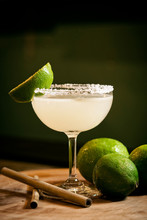 Mexican Lemon Lime Margarita Cocktail Drink In Bar