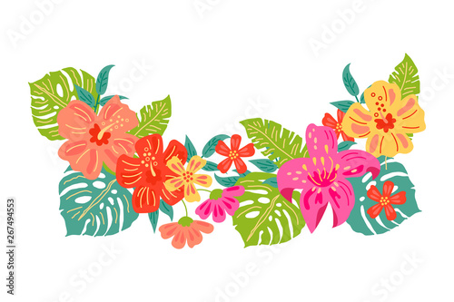Tropical exotic flowers and leaves. Hand drawn sketch style vector illustration isolated on white background. Flat style design element for poster, banner, party invitation, summer concept.
