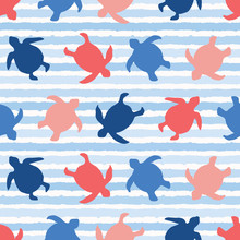 Top View Of Swimming Sea Turtles Pattern. Seamless Vector Sealife Background. Hand Drawn Stripes. Blue Ocean Nature All Over Print. Beach Wear Stripes, Marine Animal  Summer Textiles, World Turtle Day