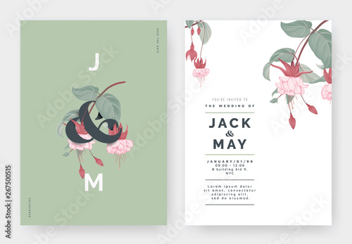 Fotografia, Obraz Minimalist botanical wedding invitation card template design, Fuchsia icy pink f