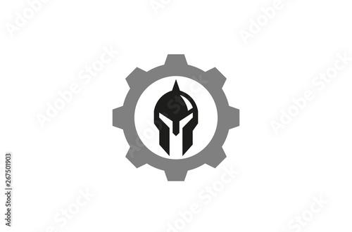 Fotografia, Obraz Creative Helmet Tech Warrior Logo Design Illustration