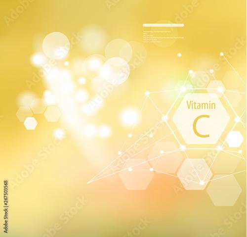 Obraz na płótnie Vitamin C on an abstract background.