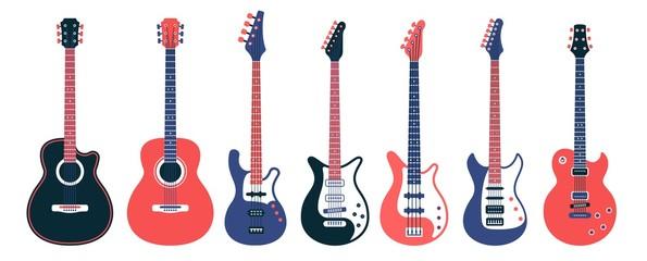 Električne gitare i akustični različiti dizajni. Ravna vektorska ilustracija.
