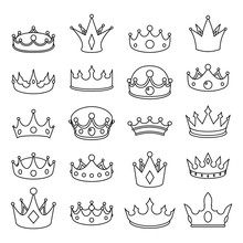 Medieval Outline Monarch Royal Crown Queen King Lord Princess Prince Head Cartoon Lineart Icons Set Isolated Vector Illustration