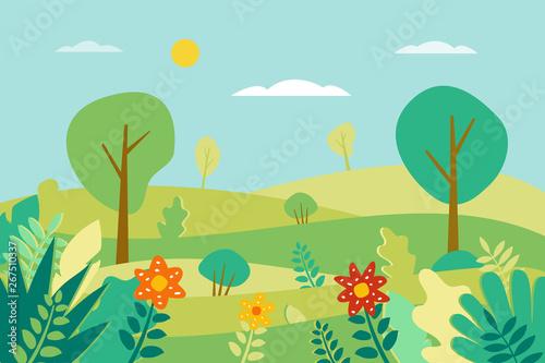 Photo  Spring landscape Vector illustration in flat style