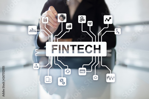 Tuinposter Londen FINTECH FInancial technology internet and business concept.
