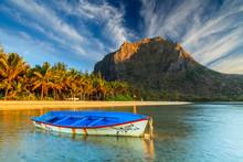 Fishing Boat Near The Shore Of The Tropical Island. Mauritius.