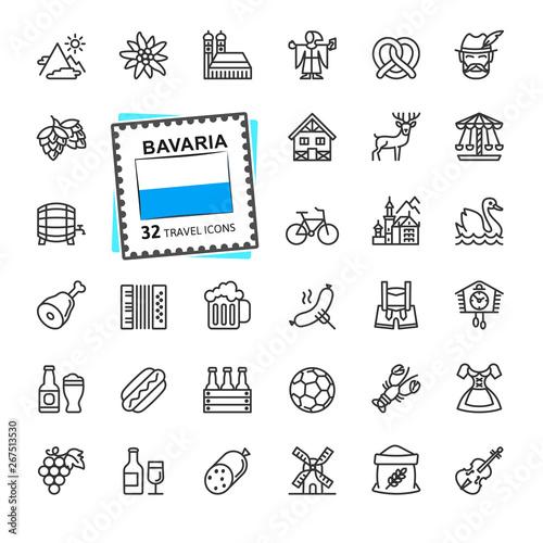 Fototapeta Bavaria, Bavarian, Bayern - minimal thin line web icon set