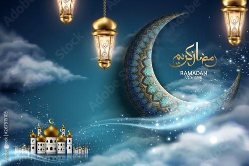 Fotografía Ramadan kareem crescent and mosque
