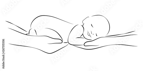 Fototapeta Sleeping baby on the parents hands, stylized line logo. Simple lines vector illustration. Stylized art for logos, signs, icons and design cards, invitations and baby shower obraz