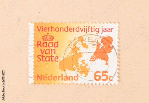 THE NETHERLANDS 1981: A stamp printed in the Netherlands shows a map of the Neth Tableau sur Toile