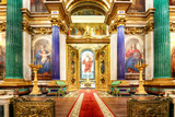 St Petersburg, Russia - August 5, 2018. Interior of the St Isaac Cathedral in St Petersburg, Russia. Inside view of beautiful interior decorations - 267518775