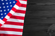 American flag on a black wooden