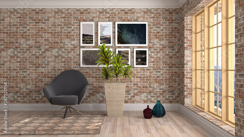 Foto auf AluDibond Boho-Stil interior with chair. 3d illustration