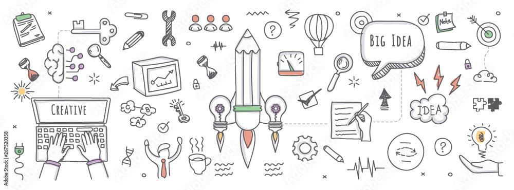 Fototapeta Doodle illustration of big idea
