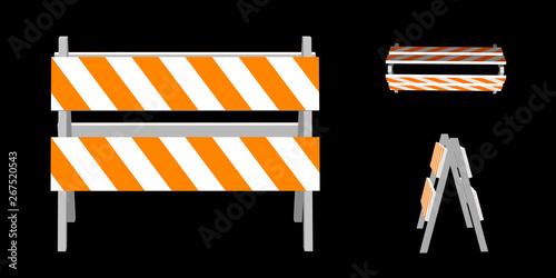 Photo Traffic barrier. 3d Vector illustration