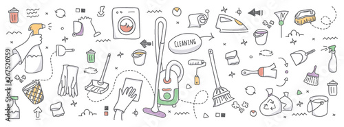 Obraz Doodle illustration of cleaning service - fototapety do salonu