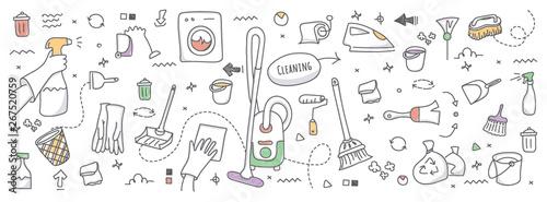 Fotomural  Doodle illustration of cleaning service