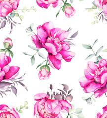 Beautiful pink peonies pattern