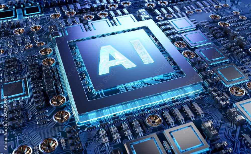 Leinwandbild Motiv - sdecoret : Artificial Intelligence in a modern GPU card 3D rendering