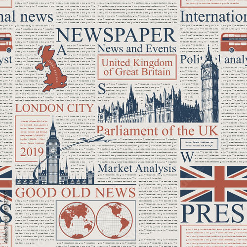 Vector Seamless Pattern With Uk Or London Newspaper Page Of