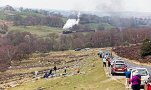 A Crowd-pleasing Steam Engine Pulling Up From Goathland Towards Pickering, 30/03/2019. North York Moors Railway, North Yorkshire, England, UK.