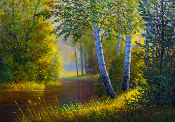 Fototapeta Las Oil painting landscape, river in the summer forest.