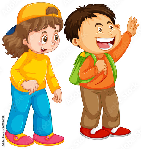Fotobehang Kids Boy and girl student character