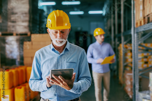 Serious Caucasian senior adult auditor in formal wear and with protective yellow helmet on head using tablet for checking on goods. In background younger manager looking at shelves and holding folder.