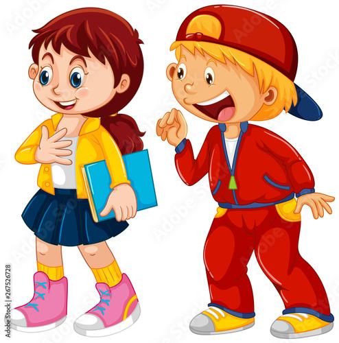 Fotobehang Kids Set of children character