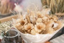 Bouquet Of Dried Flowers. Still Life With Wheat Ears And Yellow Wildflowers.