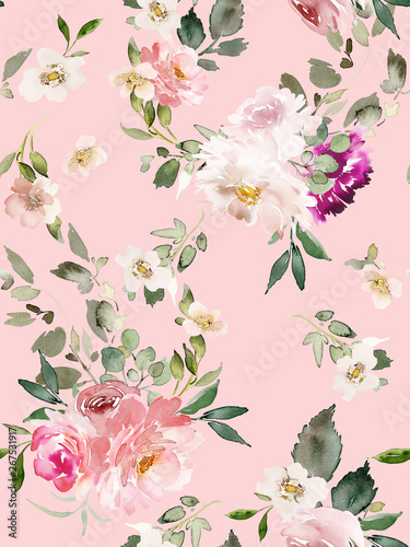 Fototapeten Künstlich Seamless summer pattern with watercolor flowers handmade.