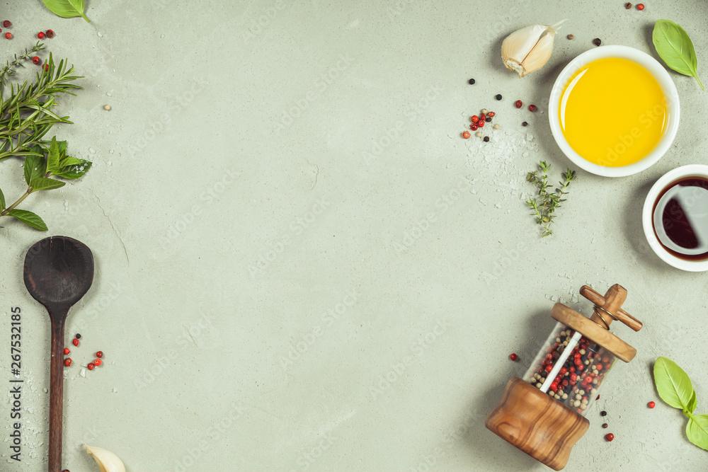 Fototapety, obrazy: Olive oil, balsamic vinegar, pepper and herbs
