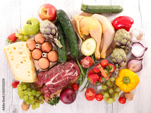 Photo  assorted raw food, fruit-vegetable and meat